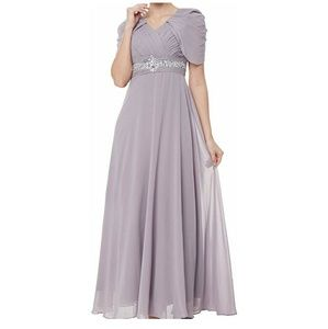 Women prom bridesmaid gown rhinestone belt dress M